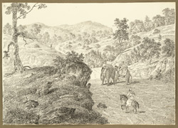 The road through the rocky Chittru Pass between Gumia and Chittru Chatta (Bihar); elephants and villager on pony in foreground. 11 February 1823